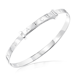 Baby Gift - Silver Alphabet Baby Bangle with Diamond