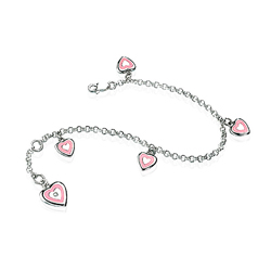 0.01 Ct SI2-I1 clarity & I-J color Diamond Resin Heart Charm Silver Bracelet