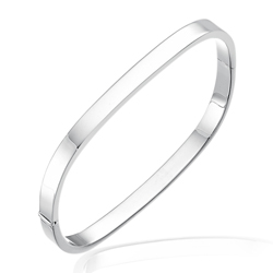 TV Hinged Bangle in Silver