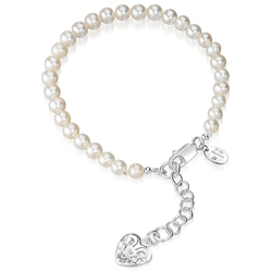 Childrens Jewelry - Crm  Freshwater Cultured Pearl Filigree Heart Locket 14+2 cm Bracelet