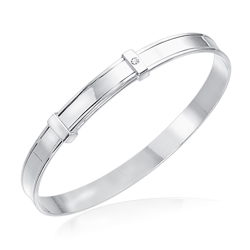 Childrens Jewelry - 0.01 Cts Diamond Blank Bangle in Silver