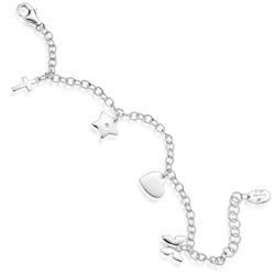 Childrens Jewelry - Diamond Butterfly,Heart,Star,Cross Charm Bracelet in Silver