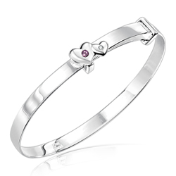 Childrens Jewelry - 0.01 Cts Diamond & 0.02 Cts Amethyst February Birthstone Double Heart Adjustable Bangle Bracelet in Silver