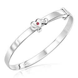 Childrens Jewelry - 0.01 Cts Diamond & 0.04 Cts Ruby July Birthstone Double Heart Adjustable Bangle Bracelet in Silver