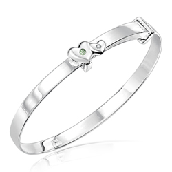 Childrens Jewelry - 0.01 Cts Diamond & 0.03 Cts Peridot August Birthstone Double Heart Adjustable Bangle Bracelet in Silver