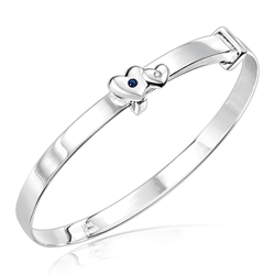 Childrens Jewelry - 0.01 Cts Diamond & 0.04 Cts Sapphire September Birthstone Double Heart Adjustable Bangle Bracelet in Silver
