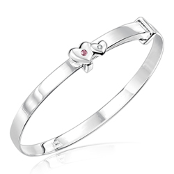 Childrens Jewelry - 0.01 Cts Diamond & 0.03 Cts Pink Tourmaline October Birthstone Double Heart Bracelet in Silver