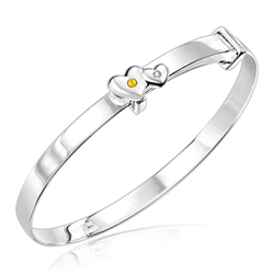 Childrens Jewelry - 0.01 Cts Diamond & 0.02 Cts Citrine November Birthstone Double Heart Adjustable Bangle Bracelet in Silver