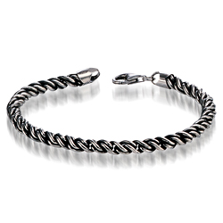 Oxidized Rope Mens 21 cm Bracelet in Silver