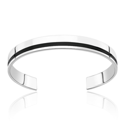 Gift For Him - Black Resin Torque Bracelet for Men in Silver