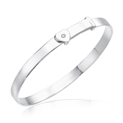 0.01 Cts Diamond Heart Adjustable Baby Bangle in Silver - Christmas Sale