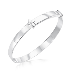 Baby Gift - Silver Cross Baby Bangle with Diamond