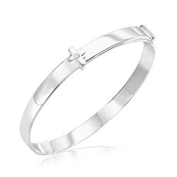 Baby Gift - Silver Cross Baby Bangle with Diamond