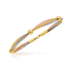 Mirror Spring Beaded Bangle in 14K Three Tone Gold
