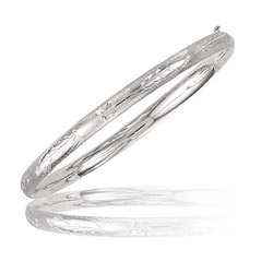 Classic paisley Bangle in 14K White Gold