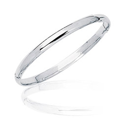 Shinny Prince & Princess Children's Bangle in 14K White Gold