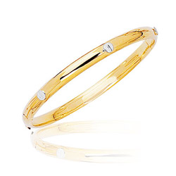 Two-Tone Prince & Princess Children's Bangle in 14K Yellow Gold