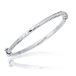 Prince & Princess Childrens Braided Bangle in 14K White Gold
