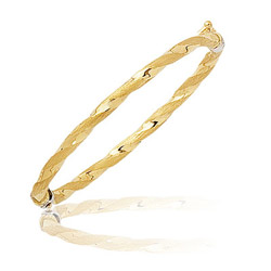Shinny & Textured Rope Prince-Princess Children's Bangle in 14KY Gold