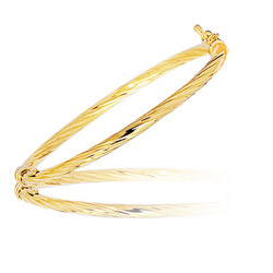 Rope Pattern Prince & Princess Children's Bangle in 14K Yellow Gold