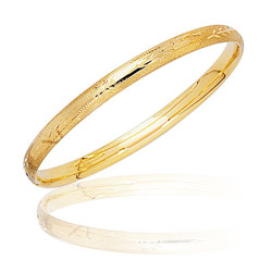 Textured Prince & Princess Children's Paisley Bangle - 14K Yellow Gold