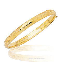 Prince & Princess Children's Leaf-Pattern Bangle in 14K Yellow Gold