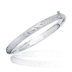 Textured Diamond Patten Prince & Princess Children's Bangle- 14KW Gold
