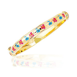 Princess Childrens Color Bangle in 14K Yellow Gold