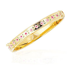 Princess Childrens Flower Bangle in 14K Yellow Gold