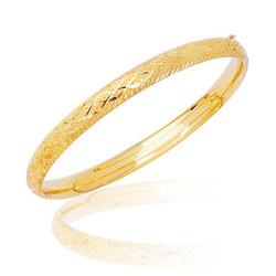 Textured Diamond Patten Children's Braided Bangle in 14K Yellow Gold