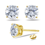 1.35 Cts Round Diamond Stud Earrings in 18K Yellow Gold