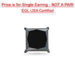 1.63 Cts AA EGL USA Certified Princess Black Diamond Men's Stud Earring in 14K Blackened White Gold