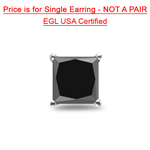1.10 Cts AA EGL USA Certified Princess Black Diamond Men's Stud Earring in 14K White Gold