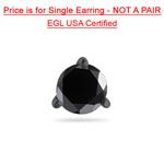 2.00 Cts of 6.20-8.61 mm EGL USA Certified AA Round Black Diamond Men's Stud Earrings in 14K Blackened White Gold