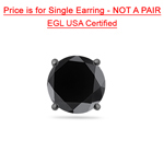 1.00 Ct of 5.65-6.37 mm EGL USA Certified Round AA Black Diamond Mens Stud Earring in 14K Blackened White Gold
