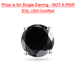 1 1/2 Cts of 6.30-7.51 mm EGL USA Certified AA Round Black Diamond Mens Stud Earring in 14K White Gold