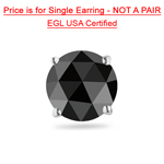1.00 Ct of 5.70-7.13 mm EGL USA Certified AA Round Rose Cut Black Diamond Mens Stud Earring in 14K White Gold