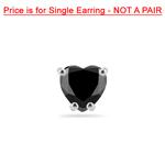 3/4 Cts AA Heart Men's Single Stud Earring in 14K White Gold