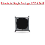 1/2 Cts of 4.89-4.93 mm Princess AAA Black Diamond Mens Single Stud Earring in 14K Blackened White Gold