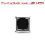 3/8 Cts of 3.00-3.50 mm Princess AAA Black Diamond Mens Stud Earring in Platinum