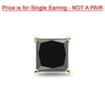 3/4 Cts of Princess AAA Black Diamond Men's Single Stud Earring in 14K Yellow Gold