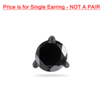 1/2 Cts Round AA Black Diamond Mens Stud Earring in 14K Blackened White Gold