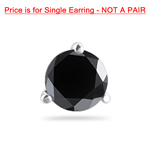 1/2 Cts of 4.89-4.93 mm Round AAA Black Diamond Mens Stud Earring in Platinum