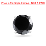 1/4 Cts of 3.00-3.50 mm AAA Round Black Diamond Men's Single Stud Earring in 14KW Gold
