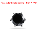 1/9 Cts of 2.50-3.00 mm AA Round Black Diamond Men's Stud Earring in 14K White Gold