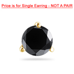 1/9 Cts of 2.50-3.00 mm AA Round Black Diamond Mens Stud Earring in 14K Yellow Gold