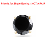 1/4 Cts of 3.00-3.50 mm AAA Round Black Diamond Men's Single Stud Earring in 14KY Gold