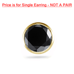 0.64-0.71 Cts Round AAA Black Diamond Mens Stud Earring in 14K Yellow Gold
