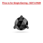 3/4 Cts of 5.40-6.00 mm AA Round Rose cut Black Diamond Men's Stud Earrings in 14K Blackened White Gold