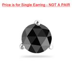1/9 Cts of 2.50-3.00 mm Black Diamond Mens Stud Earring in 14K White Gold